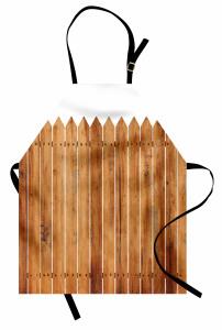 Ahşap Çit Temalı Mutfak Önlüğü Kahverengi Beyaz Bahçe