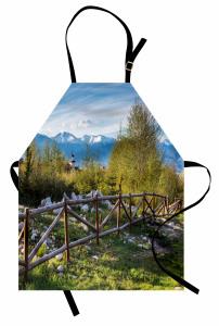 Karlı Dağ Manzaralı Mutfak Önlüğü Ahşap Kule Yeşil