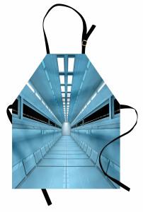 Mavi Koridor Desenli Mutfak Önlüğü Uzay Gemisi Bilim