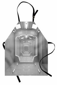 Gri Koridor Temalı Mutfak Önlüğü Uzay Fütüristik Bilim