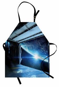 Uzay Gemisi Temalı Mutfak Önlüğü Mavi Dünya Bilim