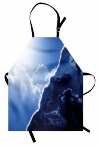 Bulut ve Gökyüzü Temalı Mutfak Önlüğü Mavi Gündüz Gece