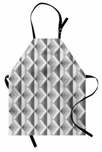 Gri Geometrik Desenli Mutfak Önlüğü Dekoratif Şık