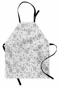 Çiçek ve Yıldız Desenli Mutfak Önlüğü Gri Şık Tasarım