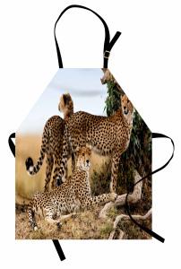 Çita Temalı Mutfak Önlüğü Kahverengi Vahşi Yaşam Şık