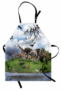 Hayvanlar Alemi ve Doğa Mutfak Önlüğü Yeşil