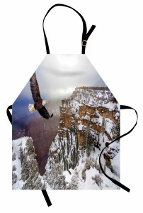 Kartal ve Karlı Dağ Mutfak Önlüğü Kahverengi