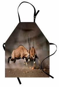 Antilop Temalı Mutfak Önlüğü Kahverengi Vahşi Doğa