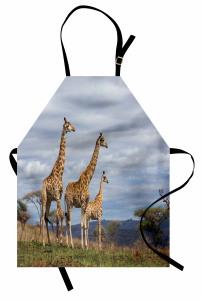Zürafa Temalı Mutfak Önlüğü Afrika Vahşi Yaşam Mavi