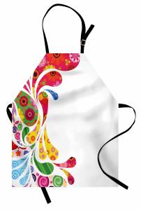 Damla ve Çiçek Desenli Mutfak Önlüğü Şık Tasarım Trend