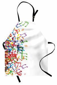 Rengarenk Nota Desenli Mutfak Önlüğü Müzik Beyaz Zemin