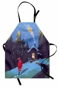 Noel Baba ve Kış Gecesi Mutfak Önlüğü Mavi Kar