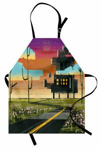 Çayırdaki Ev Temalı Mutfak Önlüğü Yeşil Kahverengi