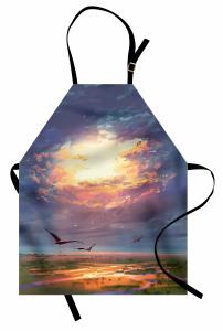 Altın Işıklı Gökyüzü Mutfak Önlüğü Kuş Bulut