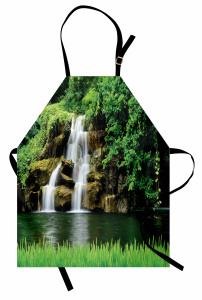 Yeşil Doğa ve Şelale Mutfak Önlüğü Şık
