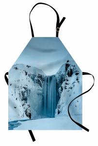 Karlı Dağ İçinde Şelale Mutfak Önlüğü Şık Beyaz