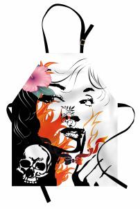 Kuru Kafa Kız ve Çiçek Mutfak Önlüğü Dekoratif