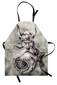 Boynuzlu Şapkalı Viking Mutfak Önlüğü Siyah
