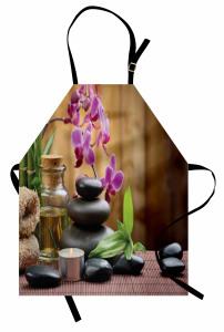 Feng Shui Temalı Mutfak Önlüğü Siyah Taş ve Orkideli