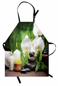 Orkide Mum ve Taş Mutfak Önlüğü Spa Efektli