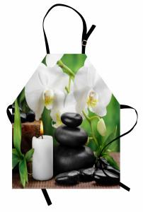 Taş Orkide ve Mum Mutfak Önlüğü Spa Efektli