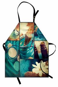 Kum Çubuklar ve Çiçek Mutfak Önlüğü Mavi Beyaz