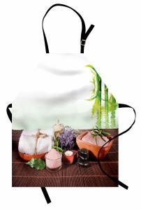 Spa Etkili Bambu Temalı Mutfak Önlüğü Mor Çiçekli