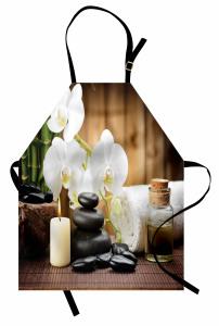 Orkide ve Masaj Taşları Mutfak Önlüğü Şık