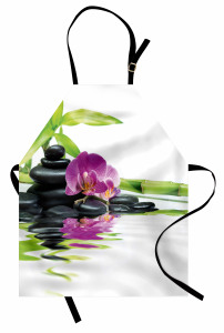 Mor Orkide ve Siyah Taş Mutfak Önlüğü Dekoratif