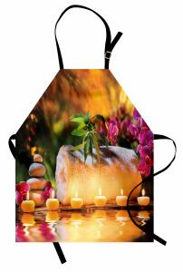 Mor Orkide ve Mumlar Mutfak Önlüğü Romantik