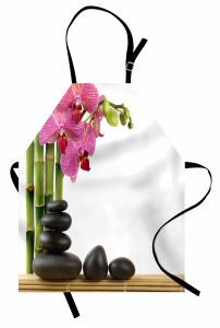 Orkide ve Siyah Taşlar Mutfak Önlüğü Dekoratif