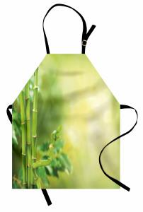 Yeşil Orman Manzaralı Mutfak Önlüğü Sarı Arka Plan
