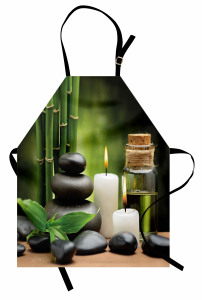 Bambu Taş ve Mum Temalı Mutfak Önlüğü Şık Dekoratif