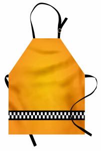 Şık Sarı Desenli Mutfak Önlüğü Siyah Beyaz Şeritli