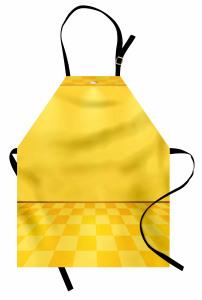 Spot Lambalı Sarı Mutfak Önlüğü Damalı Efektli