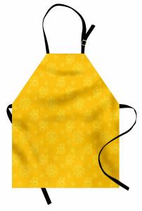 Girdap Güneş Desenli Mutfak Önlüğü Sarı Arka Planlı