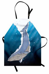 Şık Deniz ve Balina Mutfak Önlüğü Mavi Beyaz