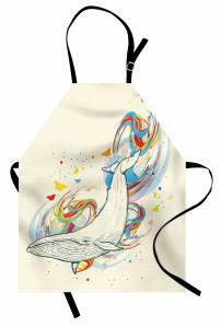 Renkli Girdap ve Balina Mutfak Önlüğü Şık