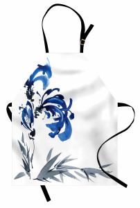 Gri Mavi Çiçek Desenli Mutfak Önlüğü Şık Dekoratif