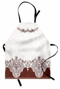 Kahverengi Çiçek Mutfak Önlüğü Beyaz Fonlu