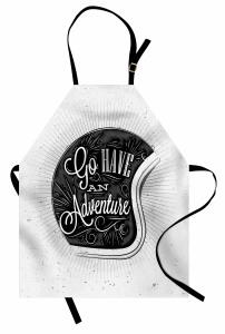 Nostaljik Kask Temalı Mutfak Önlüğü Siyah Beyaz Şık