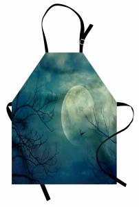 Dolunay ve Ağaç Temalı Mutfak Önlüğü Gökyüzü Kuş Mavi