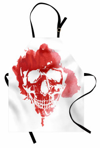 Kırmızı Kuru Kafa Mutfak Önlüğü Beyaz Sulu Boya