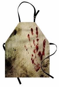 Kanlı El İzi Temalı Mutfak Önlüğü Kahverengi Kırmızı