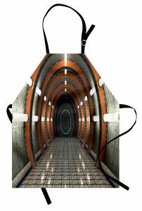 Işıklı Turuncu Koridor Mutfak Önlüğü Uzay Gri Dekor
