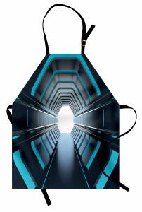 Mavi Işıklı Tünel Mutfak Önlüğü Siyah Uzay