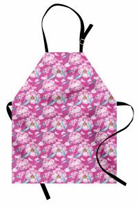 Pembe Çiçek Desenli Mutfak Önlüğü Çeyizlik Şık Tasarım