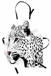 Siyah Beyaz Leopar Mutfak Önlüğü Şık Tasarım