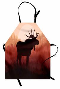 Ormandaki Geyik Desenli Mutfak Önlüğü Kahverengi Şık