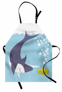 Su Altında Köpek Balığı Mutfak Önlüğü Mavi